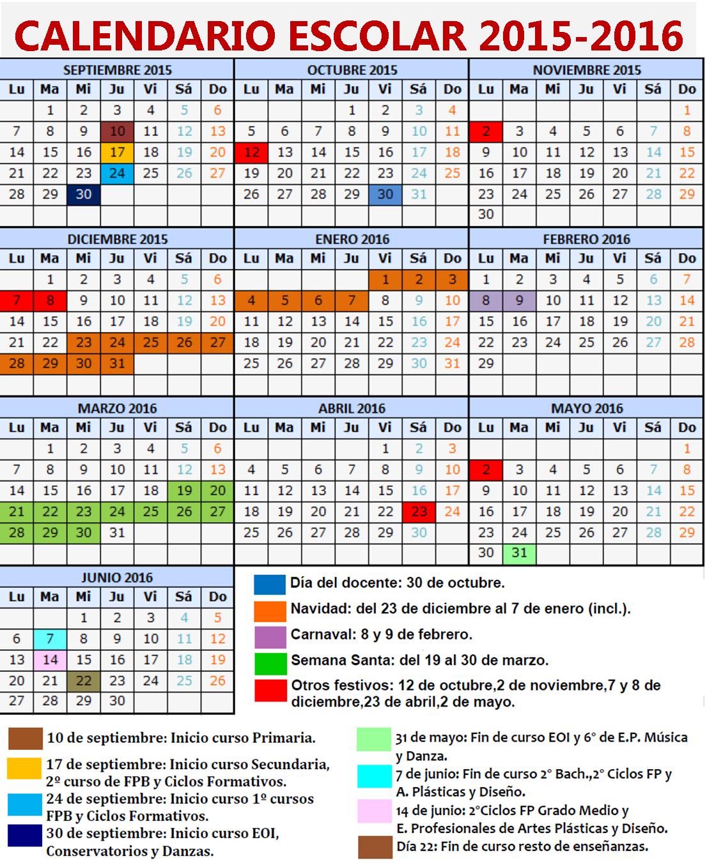 Calendario Universitario.Calendario Escolar Curso 2015 2016 Feccoocyl