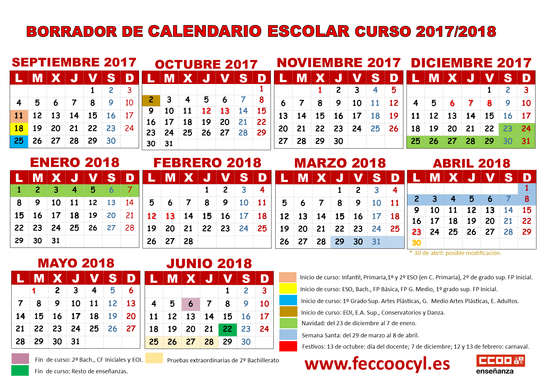 Calendario Academico Madrid.Calendario Escolar 2017 18 Borrador Feccoocyl