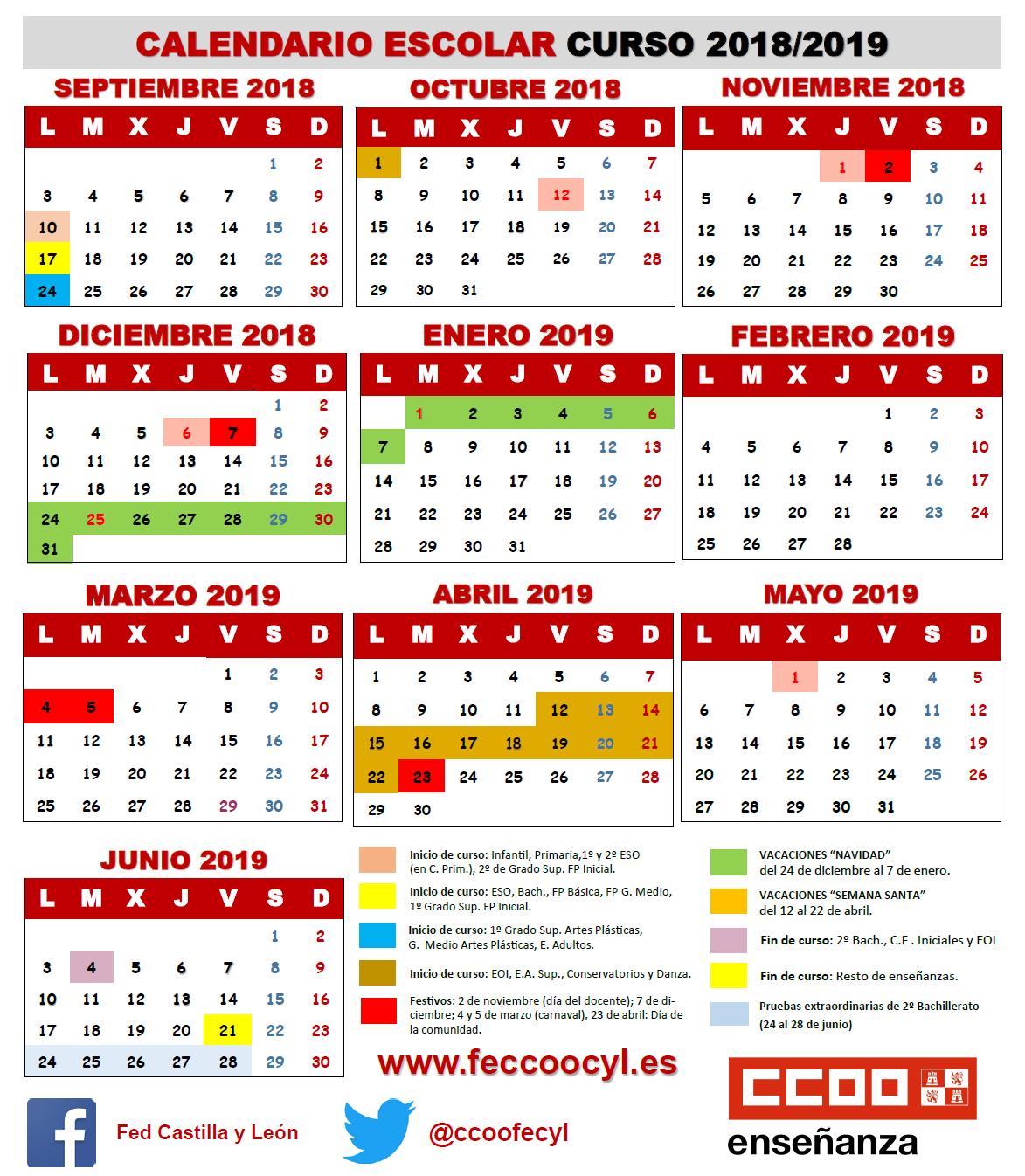 Calendario Universitario.Calendario Escolar 2018 2019 Feccoocyl