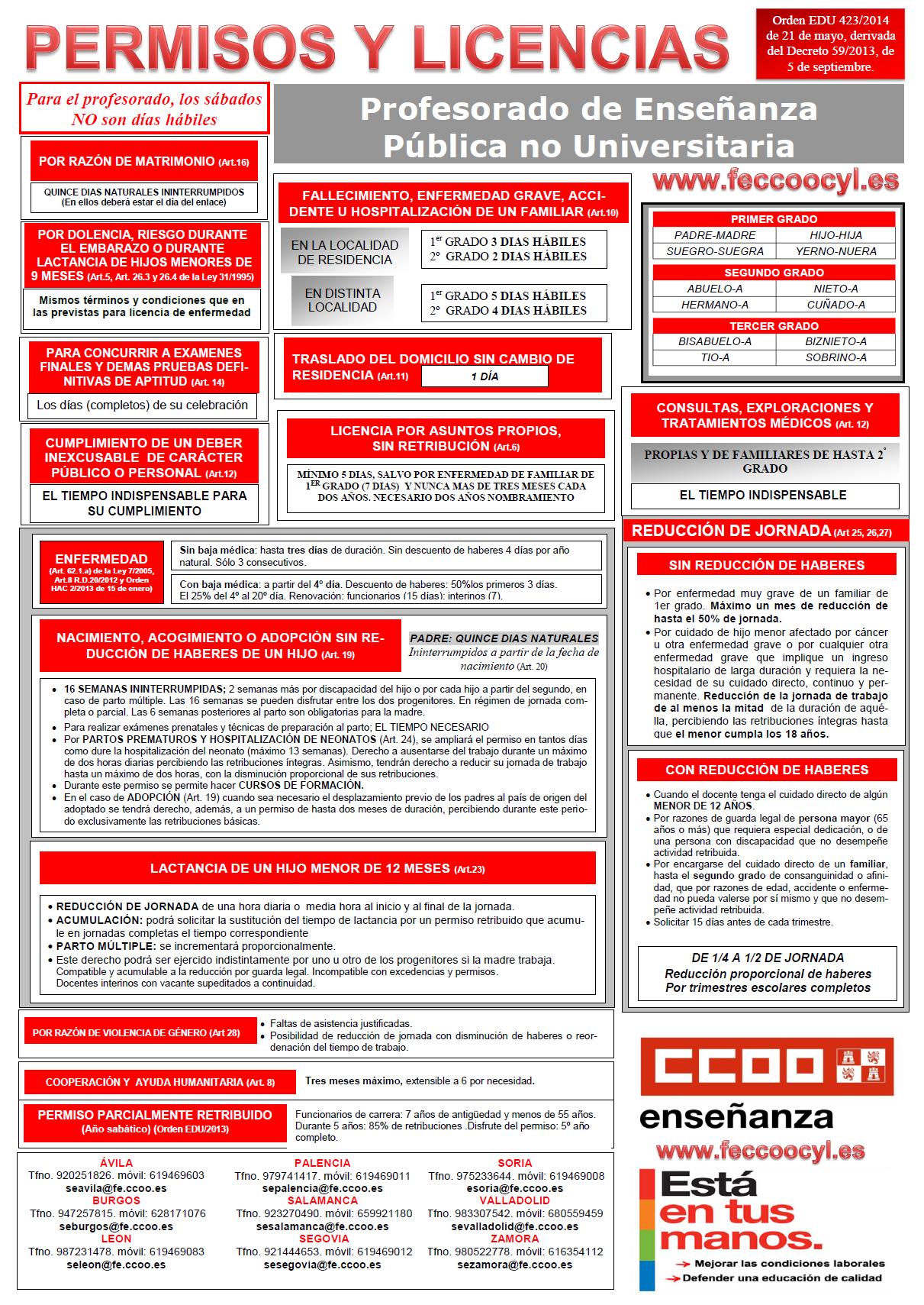 Feccoocyl regulaci n de las vacaciones excedencias for Funcionarios docentes en el exterior