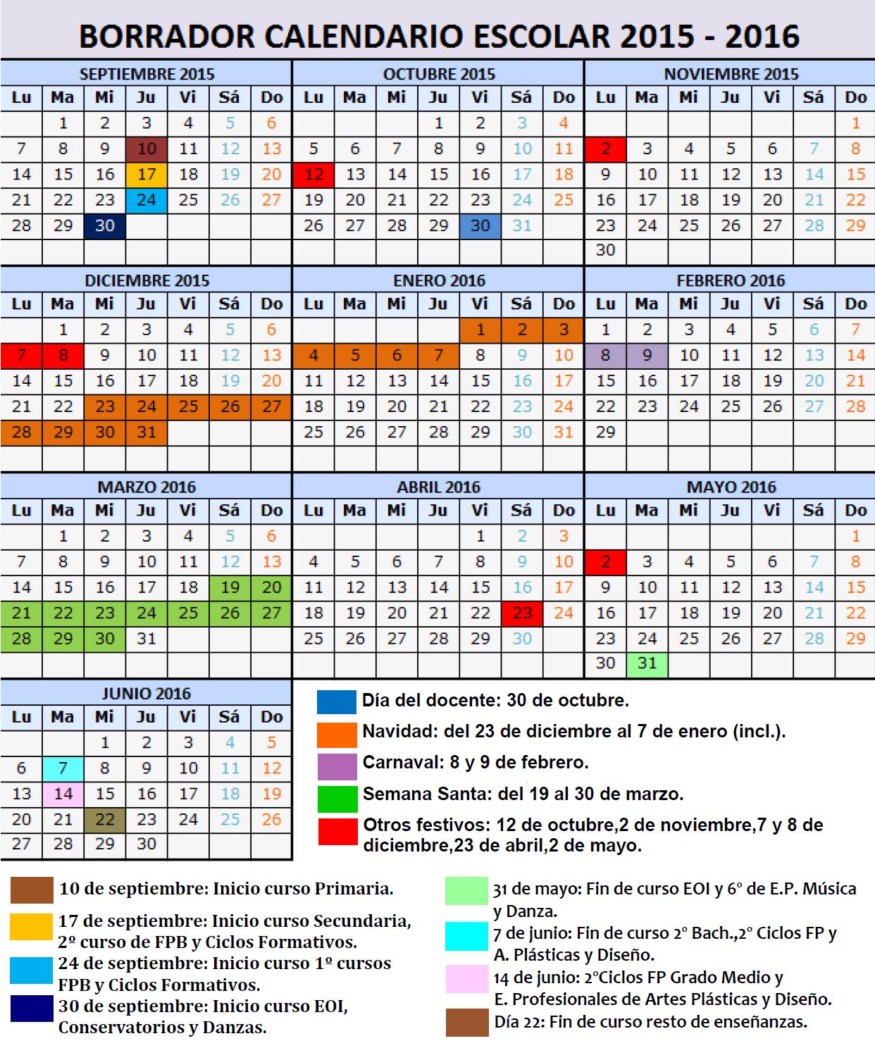 Excepcional Plantilla Del Calendario Académico 2015 Ilustración ...